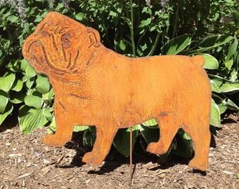 Bulldog Garden Stake or Wall Hanging, Pet, Memorial, Rust, Yard, Art, Metal, English, Metal, Outdoor, Decor, Dog, Gift, Spike, Ornament, Art