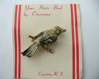 Vintage Northern Mockingbird brooch - State Bird Arkansas Florida Mississippi Tennessee Texas
