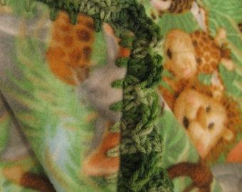 Baby Boy Fleece With Jungle Animals Monkeys & Lions Boy Baby Blanket With Green Shell Crochet Edge