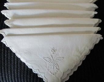 SET 6 LINEN Napkins embroidered BUTTERFLIES white