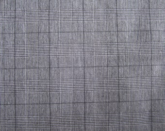 "3 yds x 60"" w Fabric BLACK WHITE PLAID cotton, like suiting pattern"