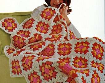 CROCHET PATTERN - Retro Granny Square Motif throw/Blanket/Afghan