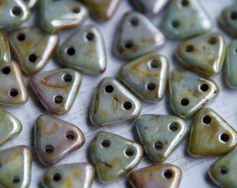 6mm CzechMates Triangle Beads - Tan Czech Mates Triangle - Beige Luster -  Picasso Czech Glass Beads - Two Hole Beads - Bead Soup Beads