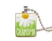 Green Grandma with Daisy - Scrabble Tile Necklace - Free Necklace Chain Included