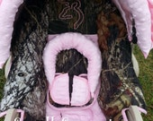 Mossy Oak Breakup/Light Pink MInky/Pink Buckmark Option Infant Car Seat Cover 5 piece set
