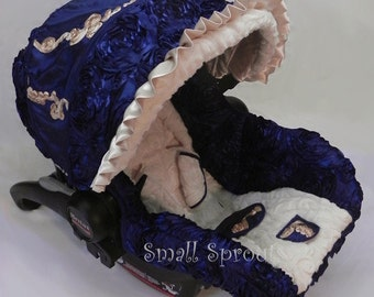 Airella~Navy Satin 3D Roses/Swirl Satin/White Vine Minky Fabric Infant car seat cover 5 piece set