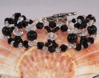 Looped Black and Clear Crystal And Pearl Bracelet