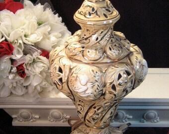 Vintage Capodimonte Italian Porcelain Cherub Light Lamp Night Light Gold Beige, 1930s Home Decor, Made in Italy, Classic Decor