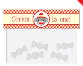 Sock Monkey Party - Personalized DIY printable treat bag label