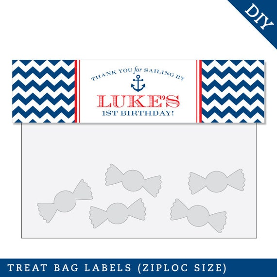 Nautical Party -  Personalized DIY printable treat bag label