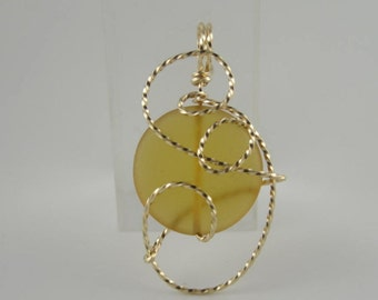 WSP-0112 Sea Glass Handmade Pendant Wire Wrapped With14k Gold Filled Wire
