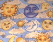 1 Yd. Celestial Sun, Moon, Cluds Cotton Quilt Fabric-Crayon Roll, Apron, Crafts, Pillowcase