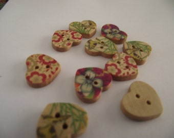 Heart Shaped Floral wooden Buttons set of 10