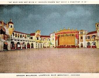 WWII 1944 Chicago, Ill Aragon Ballroom, Dance Hall - Fort Benjamin Harrison, Ind Military FREE Postage Linen Postcard