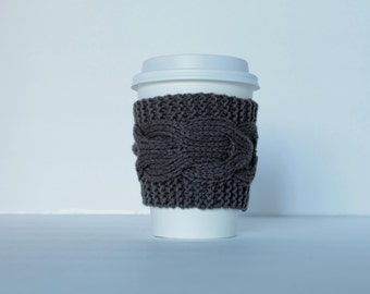 Brown Cup Cozy, Chocolate Cup Sleeve, Coffee Tea Fudge Mocha Acorn  Wood  Forestry, Hand Knit Cabled, Eco Friendly Reusable