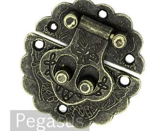 Pirate Treasure Chest Box clasp (1 Set)(2 inches) Bronze filigree pattern treasure box clasp for corset, jewelry, costume,belt