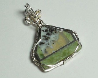 Intarsia using Dendritic Agate, Basinite, and Harrisburg Green Rhyolite Wrapped in SS