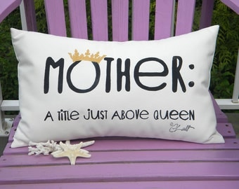 "MOTHER QUOTE hand lettered outdoor pillow mom Mothers Day grandmother blue or black lettering 12""x20"" Crabby Chris Original"