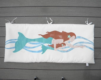 """Mermaid pillow for bench or swing back pad 20""""x45"""" indoor-outdoor hand-painted ocean merfolk mother and daughter Crabby Chris Original"""