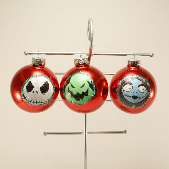 The Nightmare Before Christmas Ornaments Set of 3 decoupage Glass Red Ornaments Jack Sally Oogie Boogie