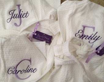 Kids Embroidered DOUBLE MONOGRAM Spa Cotton Bath Robe