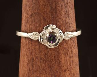 Mystic Topaz Rose Flower Unique Engagement Ring, Birthstone Ring, Silver Flower RIng, Rose Ring