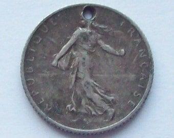 1909 Art Nouveau French Franc Silver Coin Charm