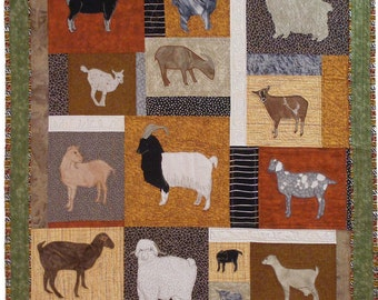 Goats, Machine Applique pattern by Debora Konchinsky, Critter Pattern Works