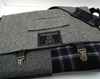 """Mens 15"""" laptop Messenger Bag , 15""""  Macbook Pro Laptop Sleeve, tote bag, Trunk Latch,Recycled Suit Coat, Upcycled bag"""