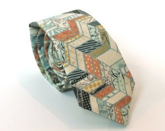 """Men's Tie - Multicolor Patchwork Skinny Tie 2.75"""" - matches J Crew Dusty Shale - green, cream, peach, yellow, brown, blue, grey IN STOCK"""