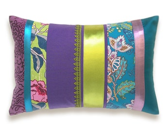 Purple Green Blue Lumbar Pillow Case 12 x 18 in Colorful Bright BohemianI IRMA DESIGN Limited Edition
