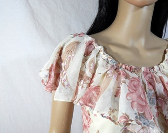 1960's PEASANT Style MAXI DRESS Rose Floral Size 7/8