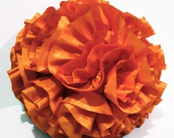 Fluffy-Pouf-Orange Pillow-Homemade-