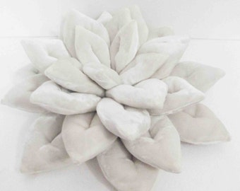 white pillow-velvet pillow-lotus flower-shaped pillow-16 inches-gifts-buddha-designer pillow-luxury pillow-yoga studio decor-unique gift