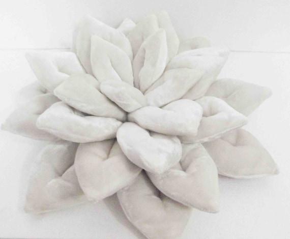 Modern Lotus Pillow : decorative white Lotus flower velvet pillow-flower pillow-home
