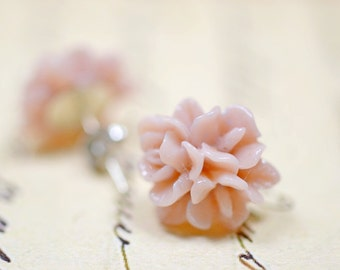 Mauve Flower Earrings, Pastel Floral Studs, Retro Jewelry, Dusky Pink Cottage Chic Vintage Style Jewelry, Ear Bob Flowers