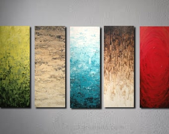 "Large abstract  painting  Landscape painting  on canvas by JMJartstudio 5 pc 90""  custom custom"