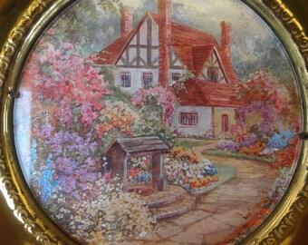 Vintage Cottage Pictures Framed in Brass