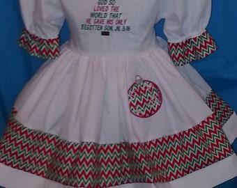 Custom Made OOAK For God So Loved the World Chevron Christmas Dress