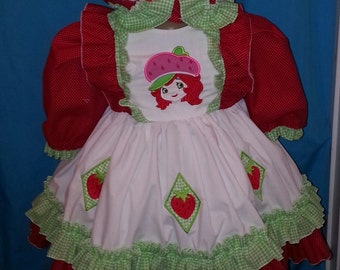 Boutique OOAK Fancy Strawberry Shortcake Dress Set