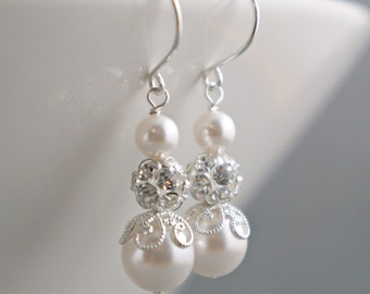 EARRINGS - Bridal Earrings Bridal Jewelry Bridesmaids Gift Wedding Bridal Party Gift Bridesmaids Jewelry Ivory White Champagne Blue Pearl