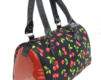 USA Handmade Handbag Doctor bag Satchel Style Red Cherry  with Shimmering Shiny Red Fabric Pattern Bag Purse, New, Mix-E