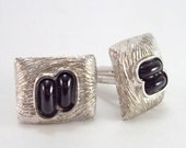 RESERVE for V.: Cuff Links, Silver, Black Glass, Mod, Mid-Century, Vintage, Cufflinks