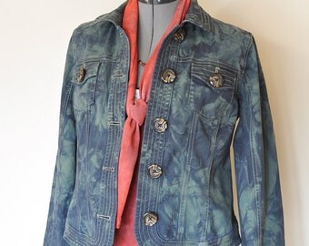 Green Blue Small Cotton JACKET - Green Navy Hand Dye Upcycled Christopher & Banks Cotton Trucker Blazer Jacket -Adult Women Small (38 chest)