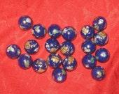 Wholesale Lot Of  20 Gemstone Inlay 12mm Lapis Color Globe  Beads