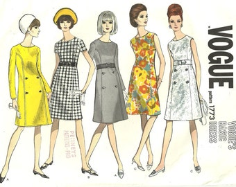 Vogue 1773 Vintage 60s Sewing Pattern // Dress Size 12 Bust 32