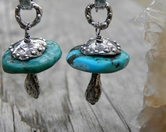 Sterling Silver Natural Turquoise Earrings Artisan Handcrafted Wire Wrapped Rustic Urban Modern
