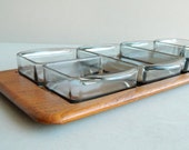 Digsmed Danish Modern Teak Tray with Glass Snack Set Serving Dishes