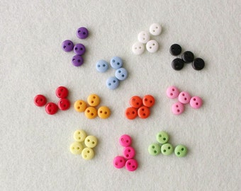 44 pcs Tiny Round Mixed Colour Buttons 5mm - Doll Clothing, Blythe,