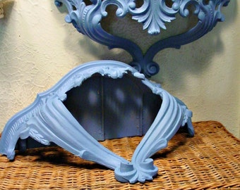 Hollywood Regency Ornate Shelves - Greek Blue - Victorian Romantic Wall Art - Annie Sloan Chalk Paint